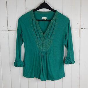 Anthropologie Meadow Rue green blouse